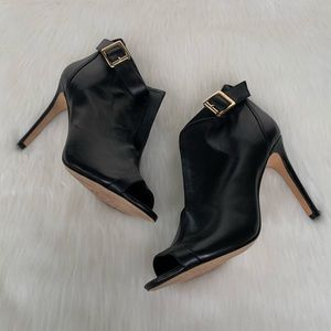 Vince Camuto Black Peep Toe Ankle Strap Booties